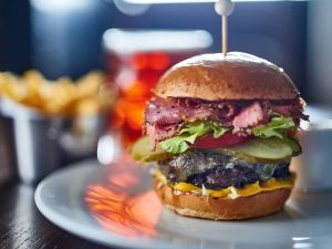 Crown at Bray Hereford burger with pastrami and smoked oak cheese – Muddy Stilettos