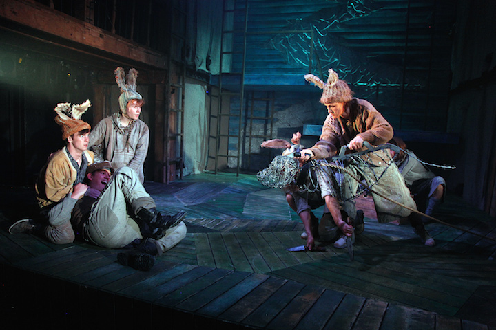LtoR Alexander Morris, James Backway, Joseph O'Malley, Charlotte Bate. Watership Down. Photo Philip Tull. 128