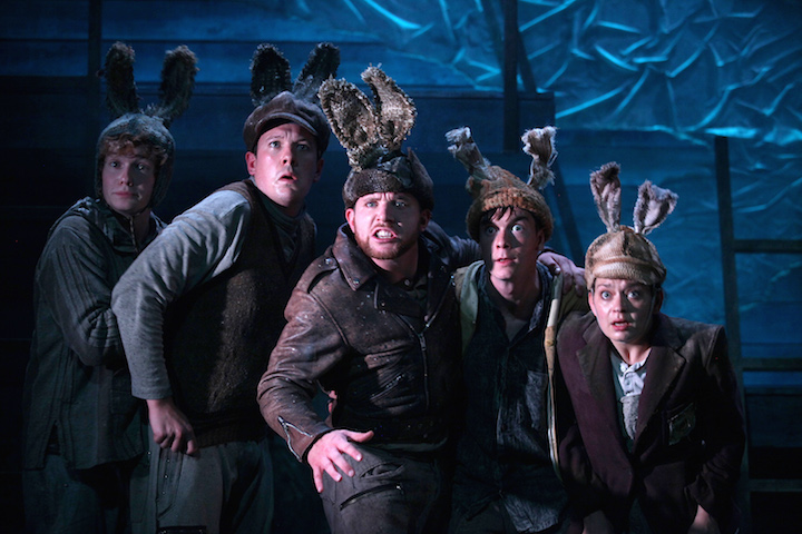 LtoR Alexander Morris, Joseph O'Malley, Richard James-Neale, James Backway, Vicki Manderson. Watership Down. Photo Philip Tull. 210 copy