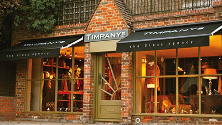 double fronted red brick shop with tan painted for and windows – home to Timpanys boutique in Sunninghill Berkshire