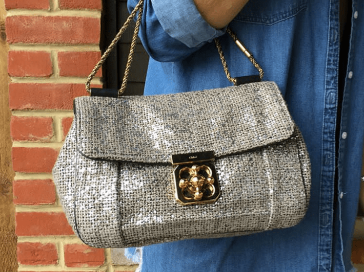 Gold woven prada bag available at Timpanys preloved boutique sunning hill berkshire