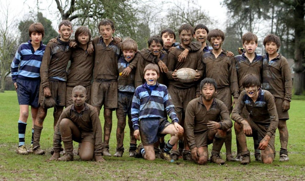 More mud than blue striped rugby kit on show at Sunningdale School Ascot