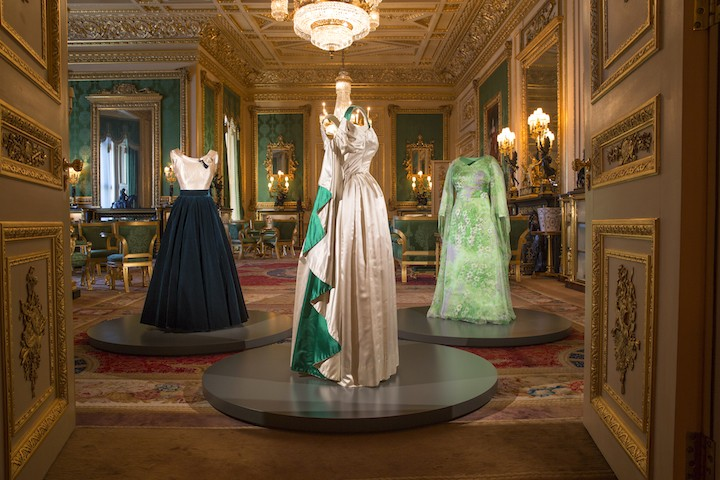 EMBARGOED UNTIL 00:01 BST FRIDAY, 16 SEPTEMBER 2016 A selection of evening gowns in the Green Drawing Room, Windsor Castle. Images for use only in connection with the exhibition Fashioning a Reign: 90 Years of Style from The Queen's Wardrobe at Windsor Castle, 17 September 2016 - 8 January 2017. Images must not be archived or sold-on. Royal Collection Trust / © Her Majesty Queen Elizabeth II 2016. Single use only; not to be archived or passed on to third parties