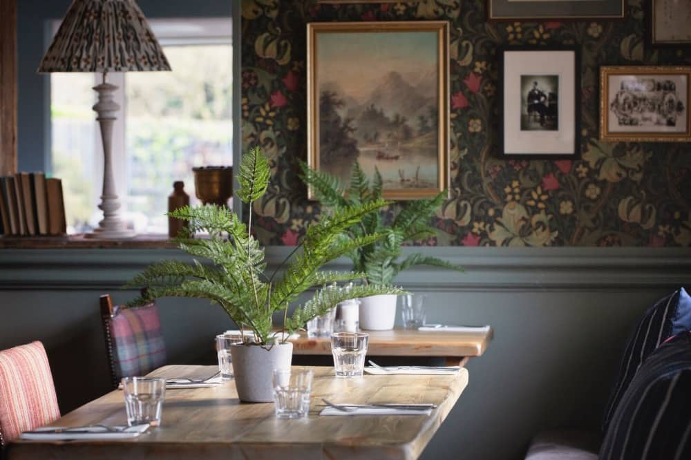 Golden Ball Pinkneys Green william morris wallpaper and oak tables