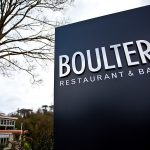 entrance to Boulters restaurant in Maidenhead with it's contemporary blue and silver signage