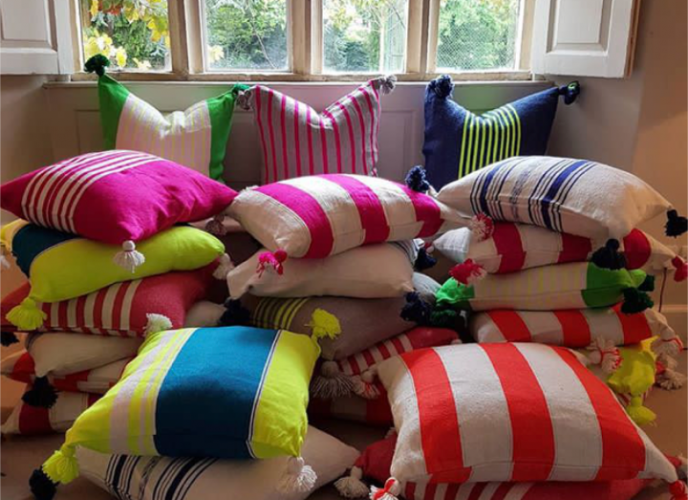 Big, bright, Moroccan cushions by Anna Cox