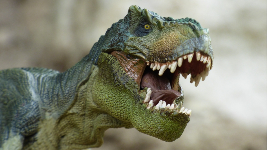 Roaring green Tyrannosaurus Rex bearing his big white teeth