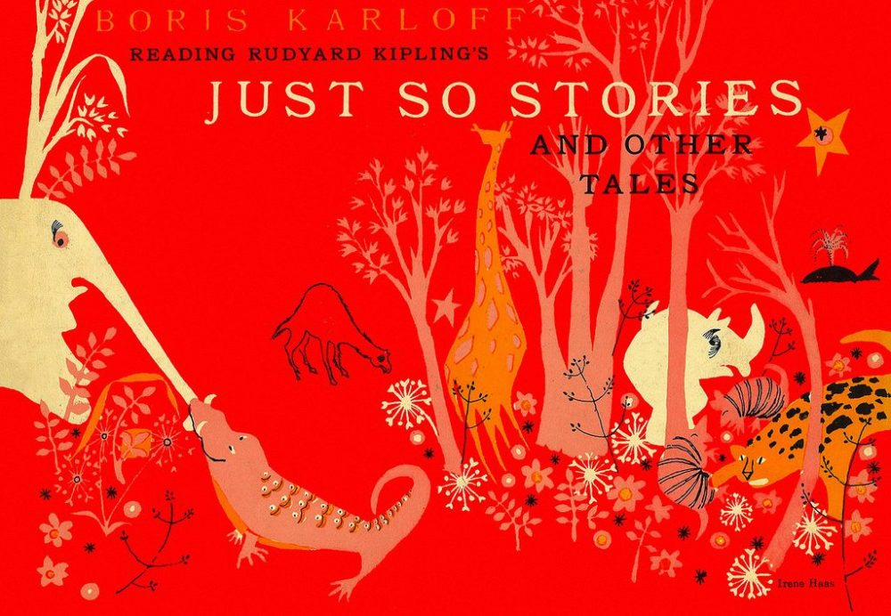 Red cover of Rudyard Kipling's Just So Stories with illustrated animals
