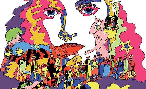psychedelic illustration with close up of a woman's face, naked lady, musicians and performers