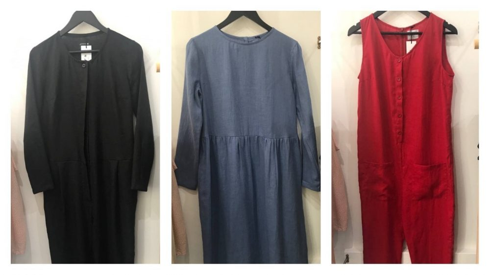 Handmade linen jumpsuits and dresses from Lithuanian brand OffOn in black, blue and red