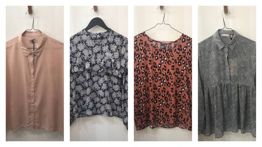 Blush short sleeve blouse, long sleeve black and white floral top with frill, leopard print top and long sleeve swing top
