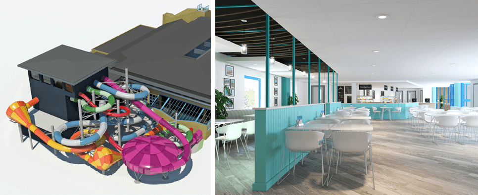 Concept image of the new Coral Reef swimming pool with 5 slides and a modern cafe