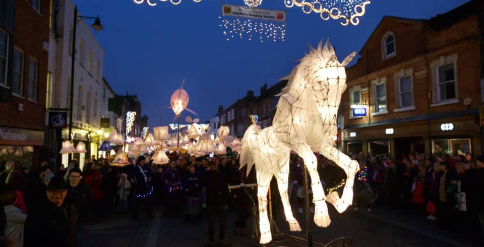 Elaborate horse lantern leads the procession at the annual Newbury Festival of Light