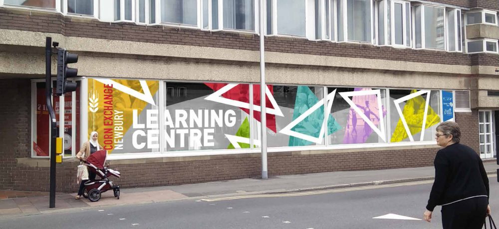 Geometric design on the outside of the Learning Centre Newbury part of the Corn Exchange