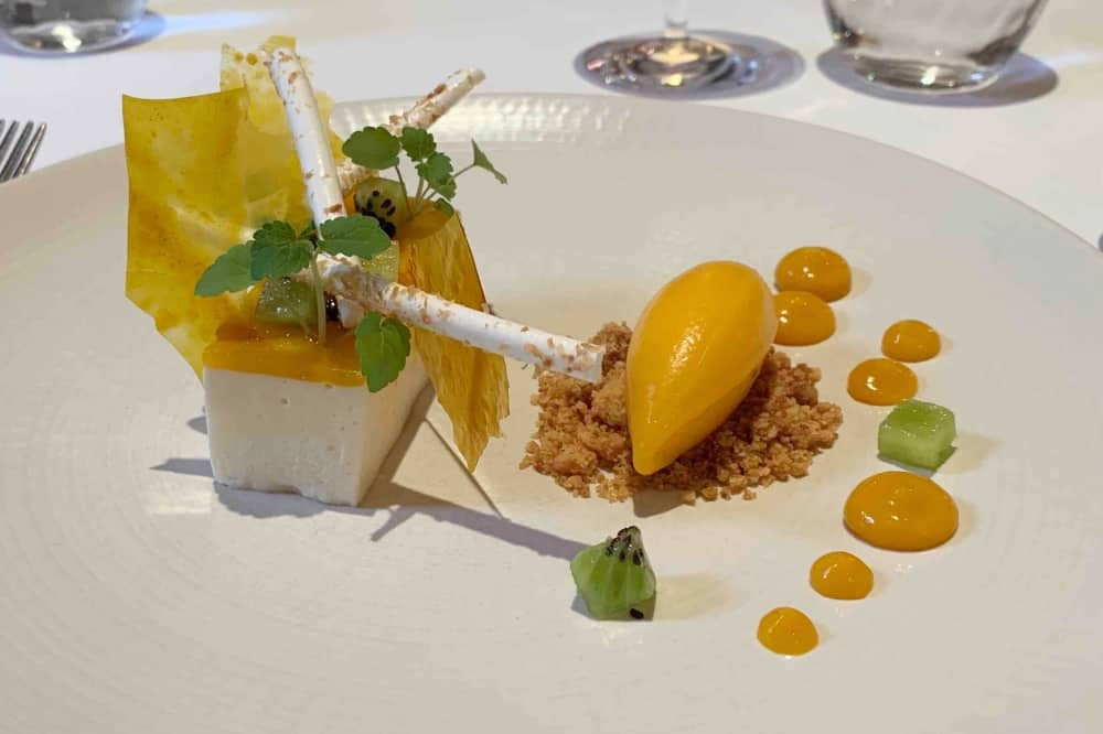 L'Ortolan Michelin Star restaurant Reading Berkshire mango and coconut cheesecake