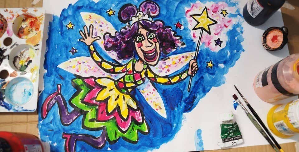 Caricature artwork of a pantomime fairy godmother