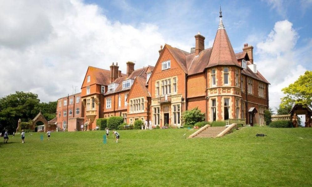 Victorian gothic revival red brick mansion now the main school building at St Andrew's Prep in Pangbourne