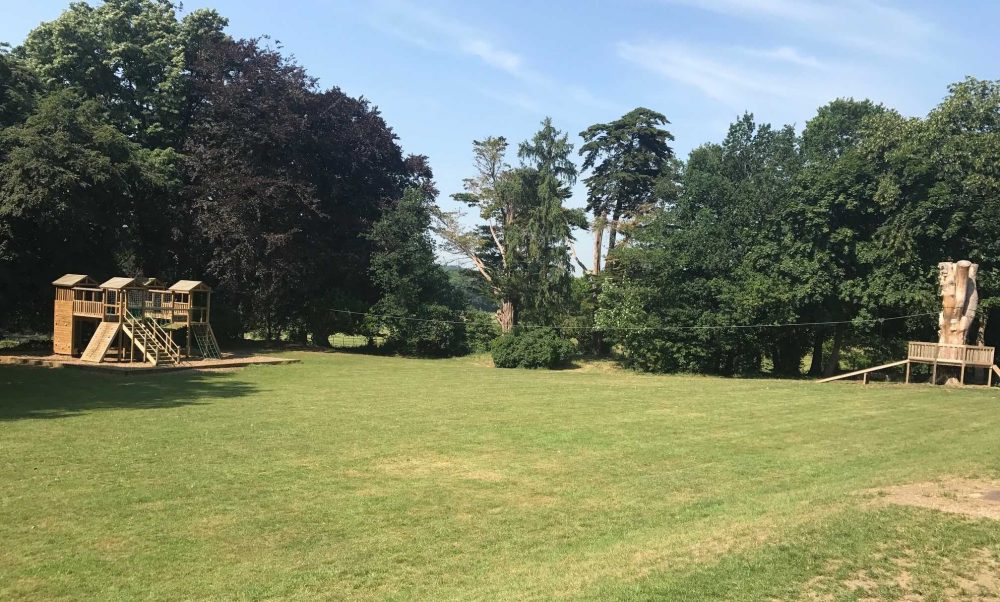 Large zipwire on the south lawn of the St Andrew's School Pangbourne Berkshire