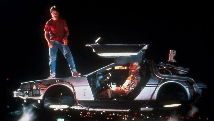 Back to the future marty Mcfly and Doc Brown and delorean car