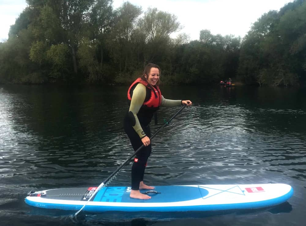 Wet, but back up and standing on Bray Lake after a SUP start class
