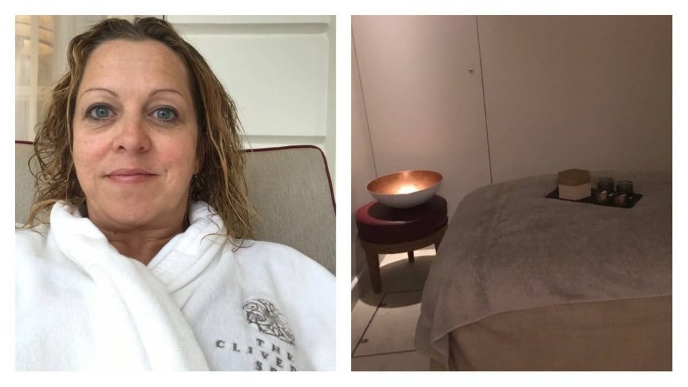 Lounging in a white robe at the Cliveden House Spa before 75 minutes of relaxation in one of the treatment rooms