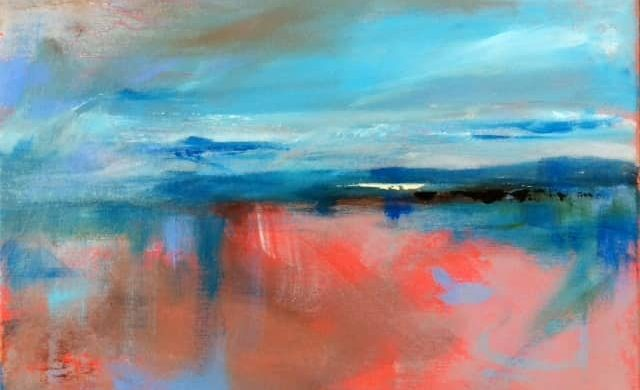 Finnish artist Satu Vartiainen's abstract painting mixing blues, pinks and coals