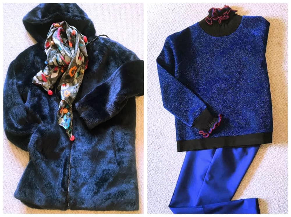 faux fur hooded coat and cobalt blue trousers with blue lurex pie crust sweater by essential Antwerp