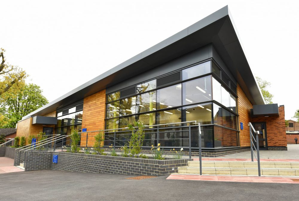 Wooden, glass and steel contemporary building for design and technology at Reading Blue Coat School