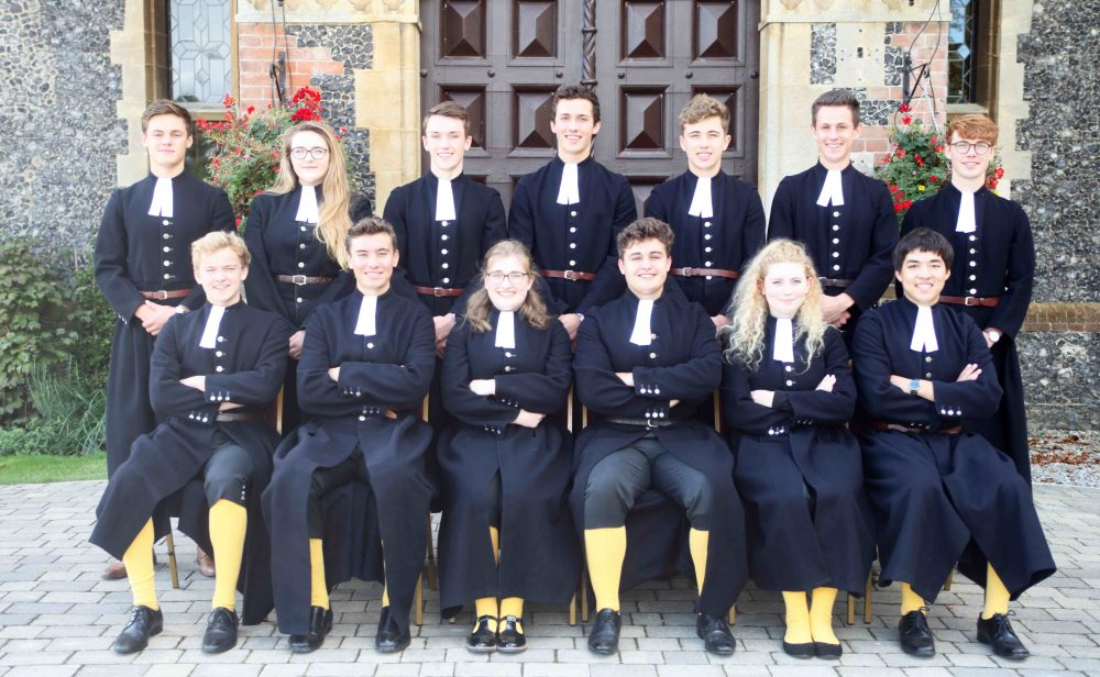 Reading blue coat prefects wearing the original long coats and yellow stocking