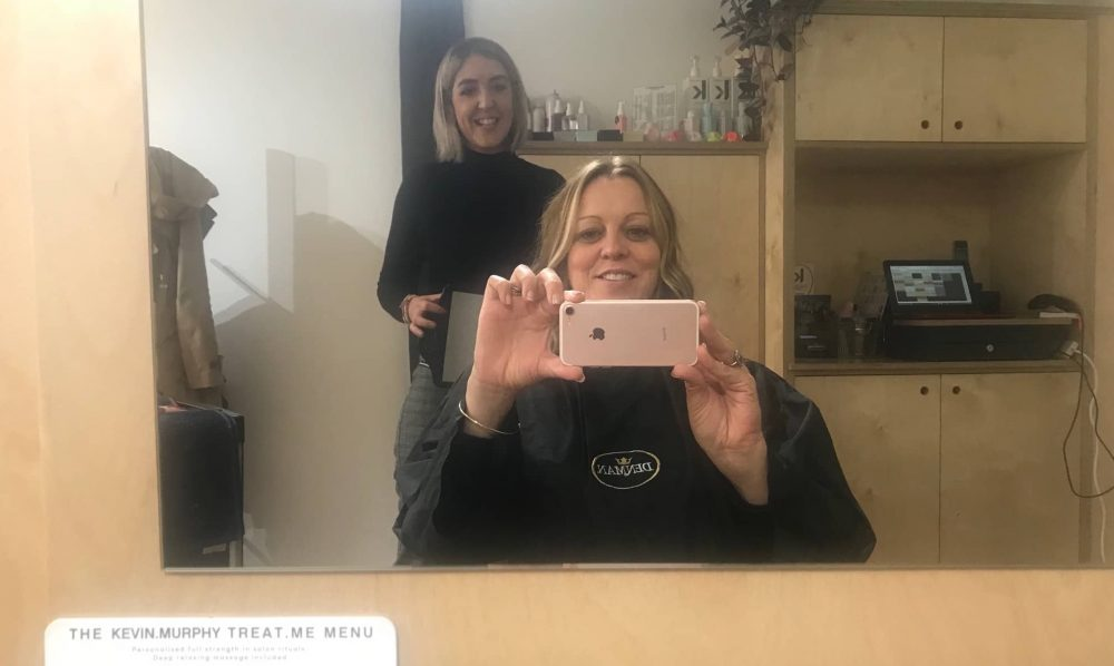 Hair salon selfie with Banks and Klein owner and Muddy Berkshire Rachel Jane with the new do