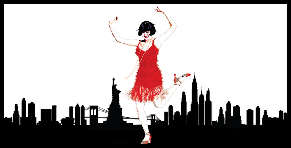 iconic red flapper dress of Thoroughly Modern Millie with a silhouette of New York