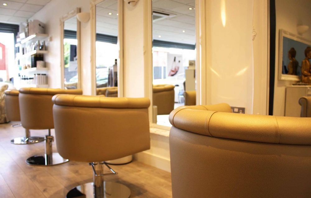 squishy glittery beige salon chair at Honey B Hair and Beauty Bar Wokingham
