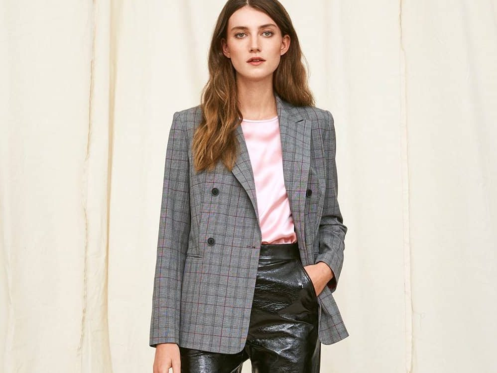 checked double blazer and leather rousers in the Aw17 Kitri Studio collection