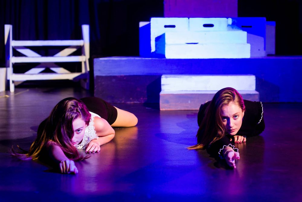 Two St Joseph College girls rehearse in the drama studio