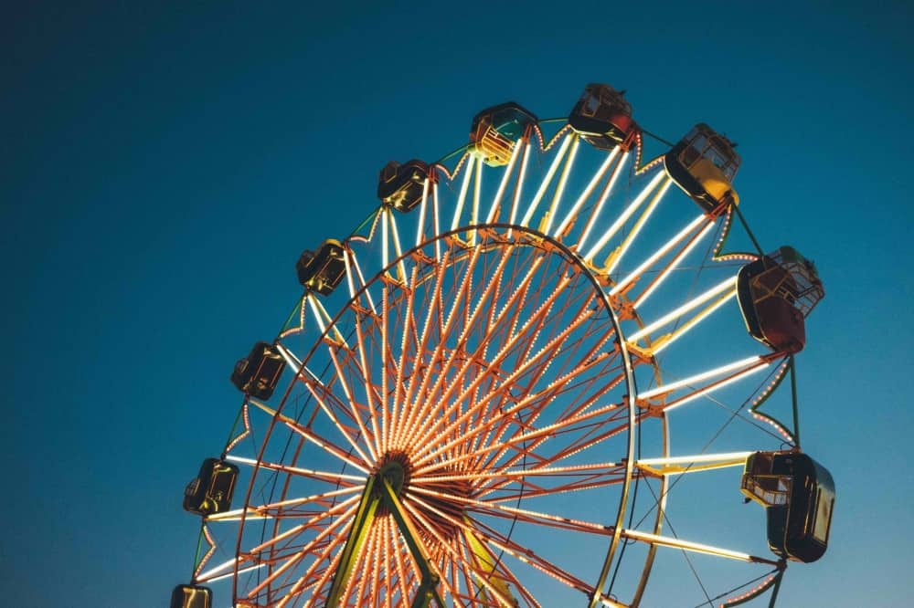 big wheel lights up the night sky at a vintage fun fair