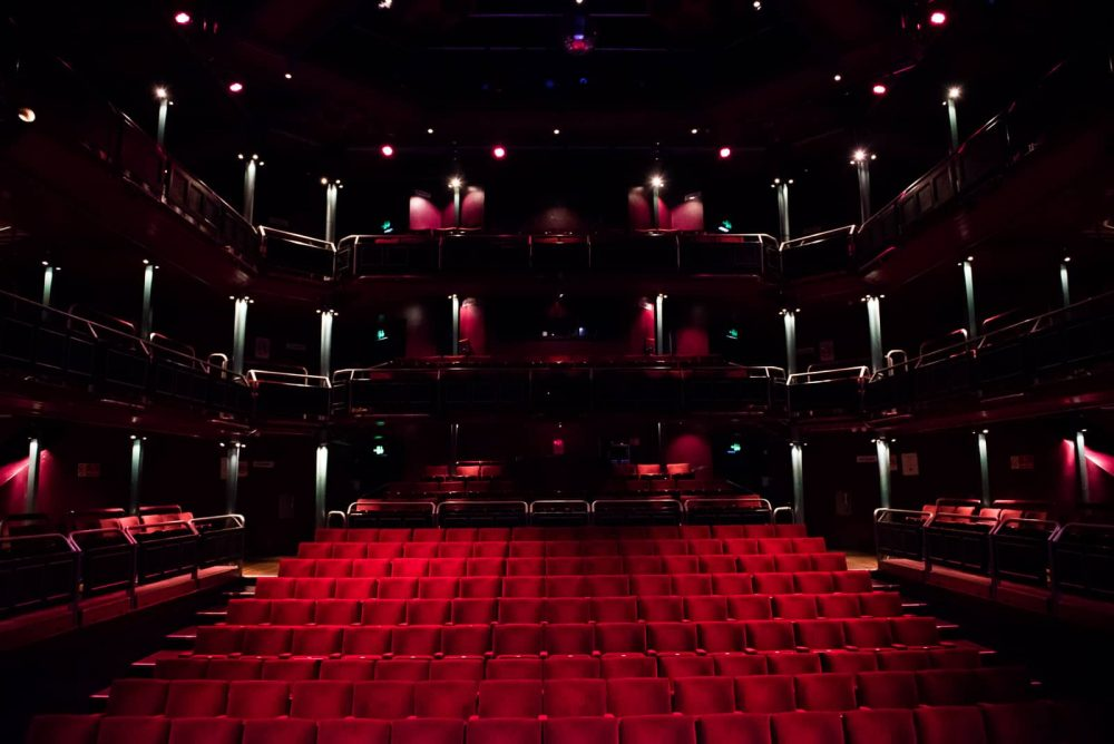 View from the stage at the Wilde Theatre South Hill Park Bracknell – a sea of red velour seating