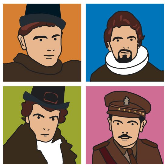 Andy Warhol style illustrations of the Blackadder characters