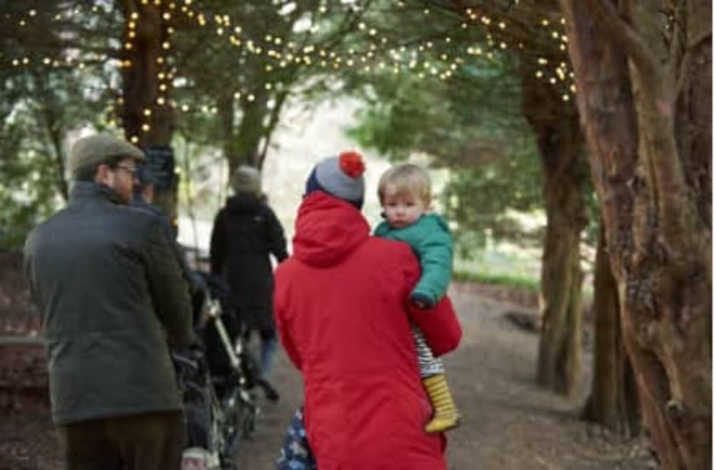 Family on an illuminated woodland walk at Basildon Park wearing a red coat and bobble hats