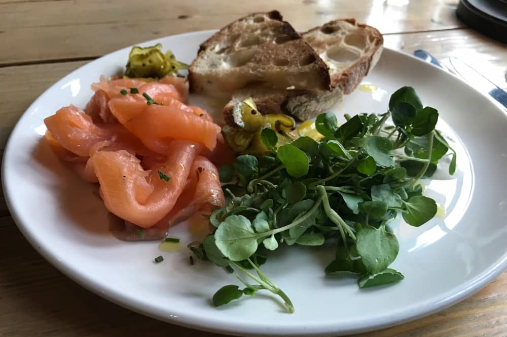 Bel and there dragon windsor smoked salmon sour dour bread horseradish