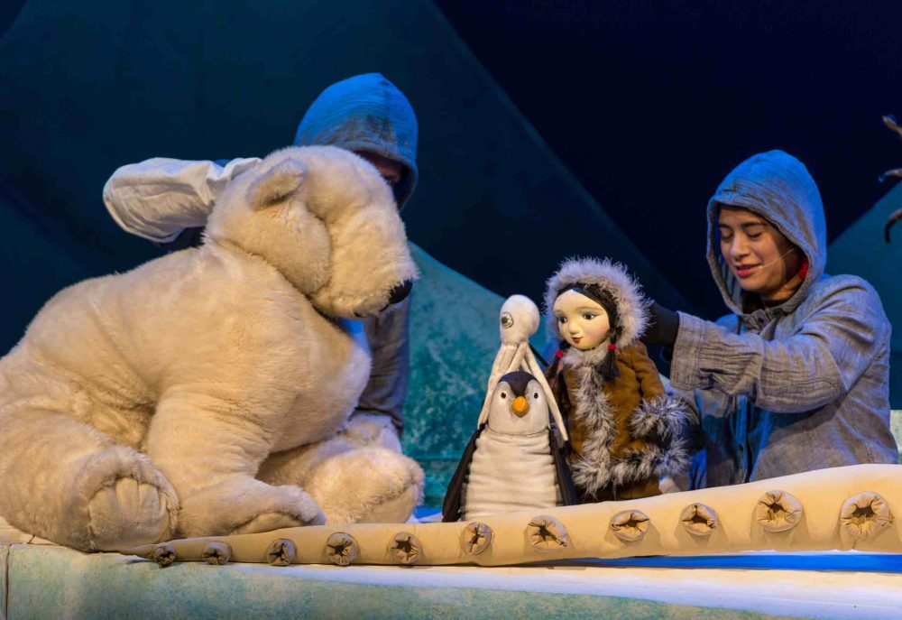 Toy polar bear, puppet penguin and inuit girl Miki star in the stage show Miki