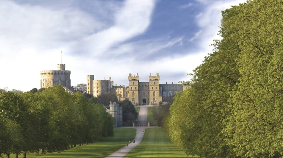 Historic Windsor Castle, resident of Queen Elizabeth II as seen down the Long Walk