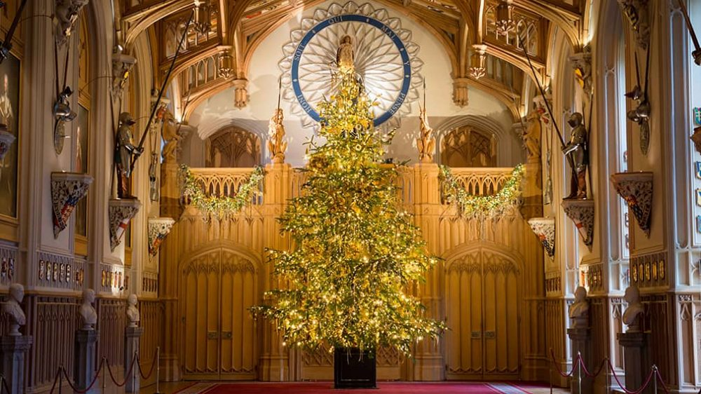 25ft lit christmas tree in the gothic surroundings of St George's Chapel, Windsor Castle
