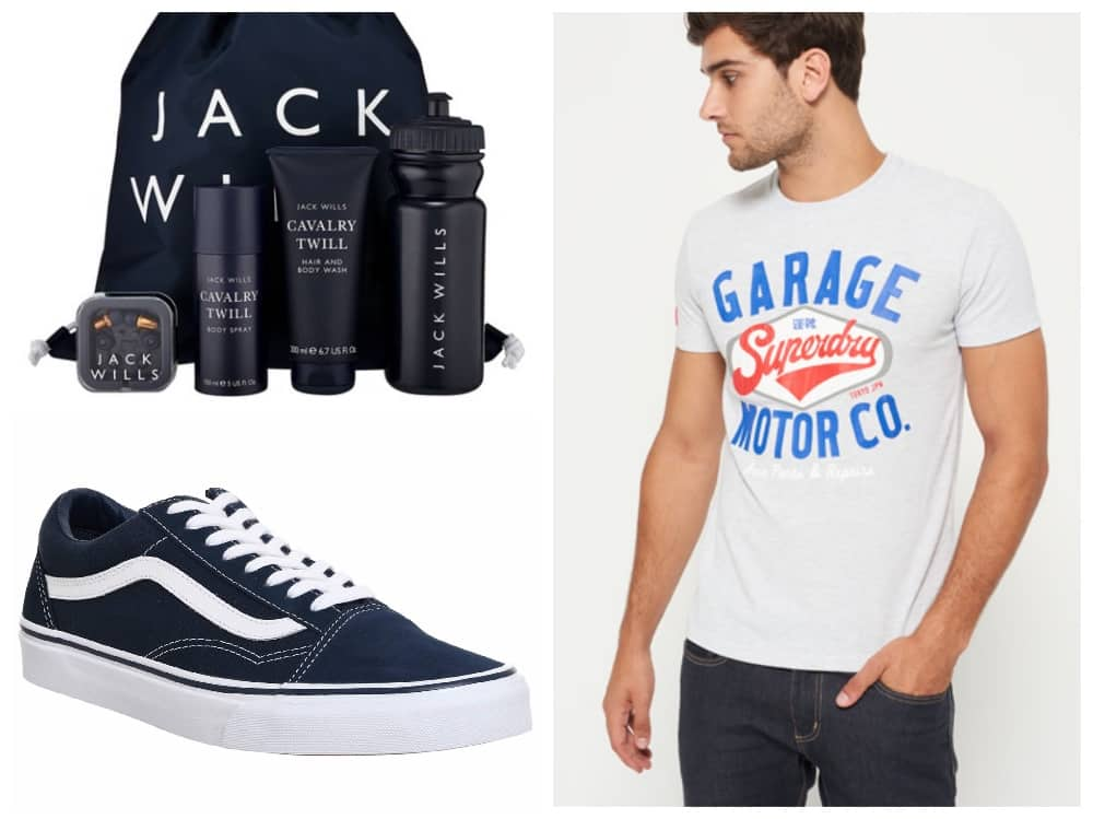 Gift collage – retro Superdry t-shirt, old skool Vans, and Jack Wills toiletries