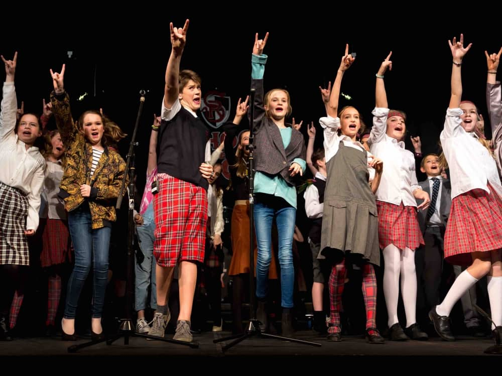 Children of Cheam School performing School of Rock the musical – having been given special permission to perform it by Andrew Lloyd Webber