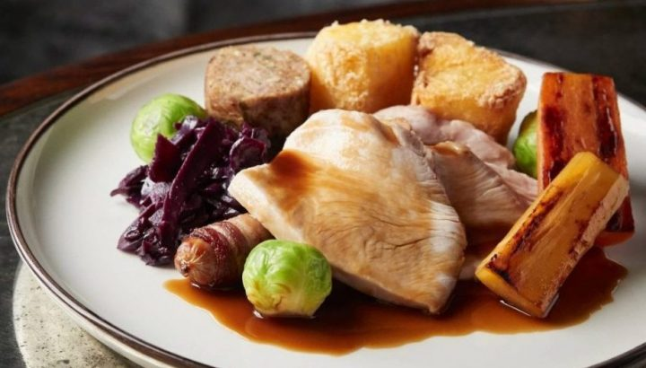 Turkey lunch with triple roast potatoes, root veg and pigs in blankets, Hind's Head Bray