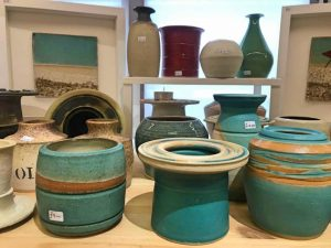 turquoise and tan handmade pottery at Handmade Craft Company Wokingham
