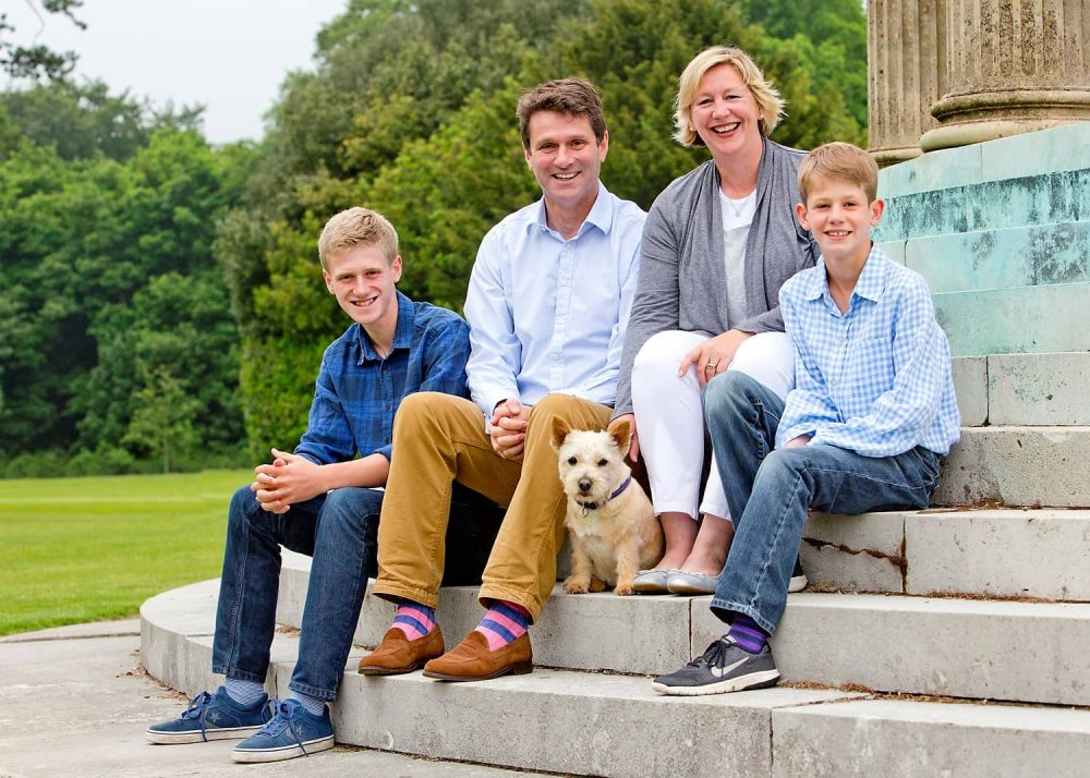 Cheam School Headmaster Martin Harris , his wife Catherine and their two boys