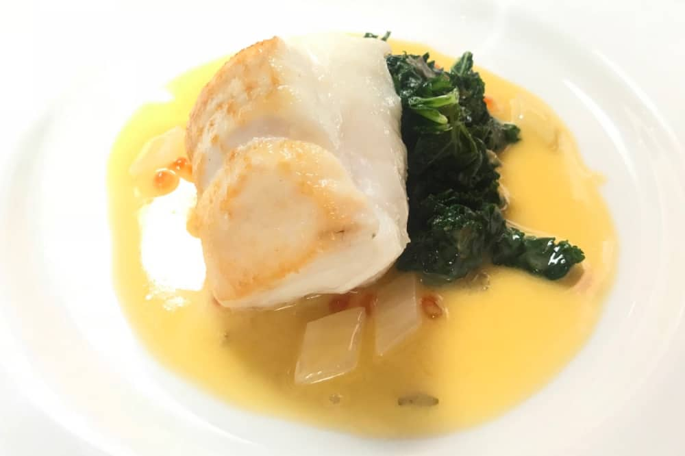 Heston Blumenthal Hinds Head Cod loin and kale