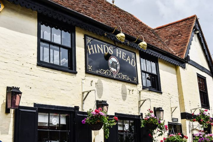 Cream and black exterior of Heston Blumenthal's Michelin starred Hind's Head pub in Bray