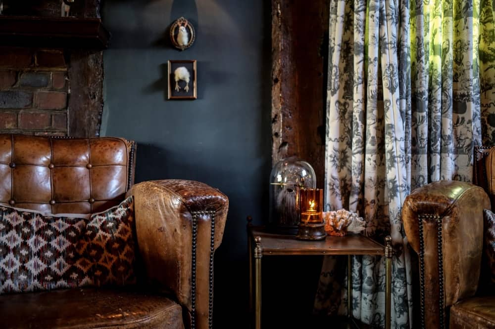 Royal Lounge Hinds Head Bray Heston Blumenthal leather armchairs and stuffed bird on wall